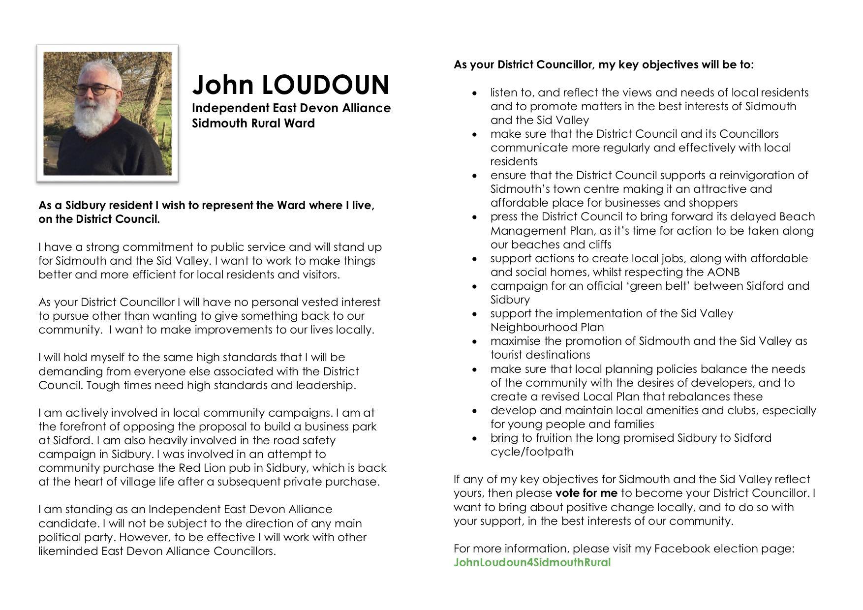 John Loudoun East Devon Alliance campaign leaflet